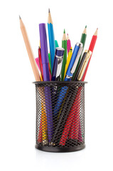 holder basket and pen with pencil
