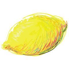 The Art Lemon. Yellow ripe lemon on a white