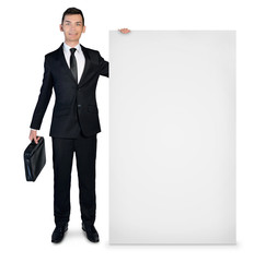 Business man presenting empty board