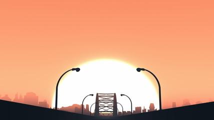 Road travel touring car sunset seamless looping