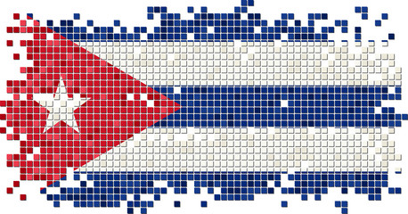 Cuban grunge tile flag. Vector illustration