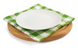 plate with napkin at cutting board - 77323212