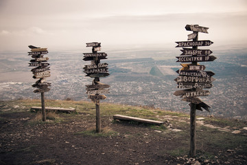 Pointers distances to different cities. Pyatigorsk, Russia