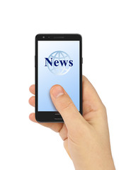 Hand with smartphone News