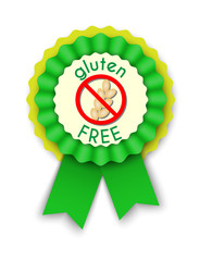 green rosette with text gluten free
