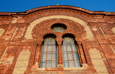 Beautiful windows of old synagogue in Uzhgorod, Western Ukraine