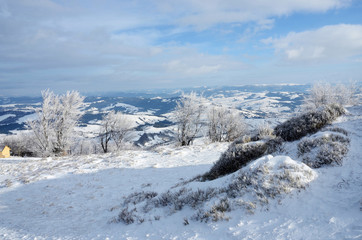 View from Gemba mountain during winter sunny day trip,Ukraine