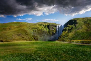 Powerful Skogafoss Waterfall in Iceland