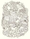 Sketch Doodles. Coffee, Tea, Love Background.