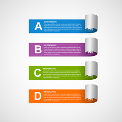 Paper sticker, banners, options infographic. Design element.