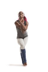 Woman standing in the Eagle yoga pose