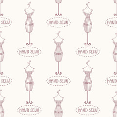 Vintage mannequin seamless pattern with inscription hand sewn