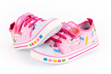Children pink sneakers
