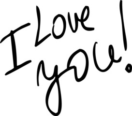 I Love You - vector text illustration