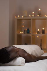 African beauty woman getting spa
