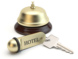 Reception bell and hotel room key