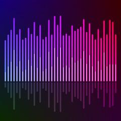 glowing effect music equalizer dark background
