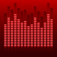 glowing effect music equalizer dark red background