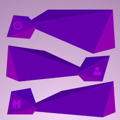 horizontal banner purple triangles surround effect empty