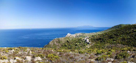 view of Capraia island in Tuscany