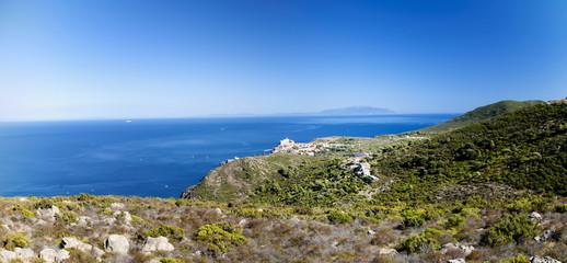view of Capraia island in Tuscany