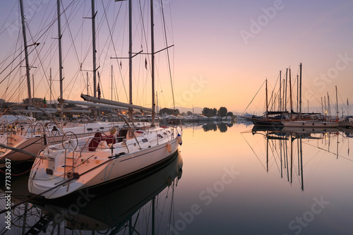 Sunset in Alimos marina in Athens, Greece. - 77332637