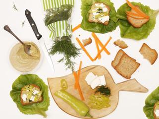 Vegetarian sandwich ingredients - healthy lifestyle concept