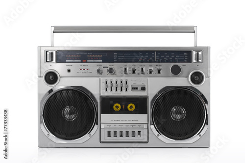 Retro ghetto blaster isolated on white with clipping path - 77333438