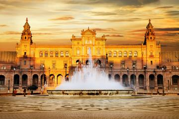 beautiful Plaza de Espana on sunset, Seville, Spain