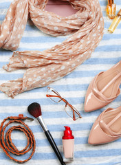 Fashionable female clothing and accessories,