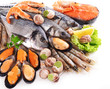 Fresh fish and other seafood isolated on white - 77337223
