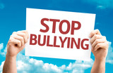 Stop Bullying card with sky background poster
