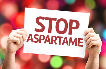 Stop Aspartame card with colorful background