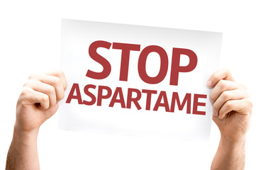 Stop Aspartame card isolated on white background