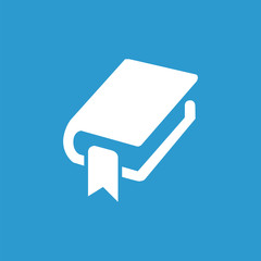 book bookmark icon, isolated, white on the blue background.