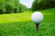 Leinwandbild Motiv Golf ball on course