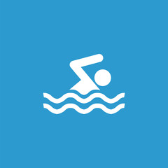 swim icon, isolated, white on the blue background.