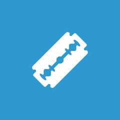 razor icon, isolated, white on the blue background.