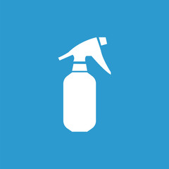 sprayer icon, isolated, white on the blue background.