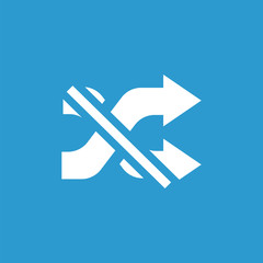cancel shuffle outline icon, isolated, white on the blue backgro