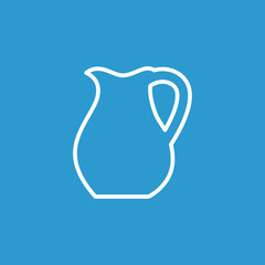 pitcher outline icon, isolated, white on the blue background.