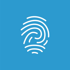 fingerprint outline icon, isolated, white on the blue background