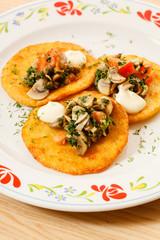 potato pancakes with mushroom