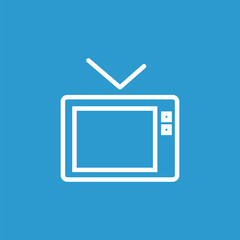tv outline icon, isolated, white on the blue background.