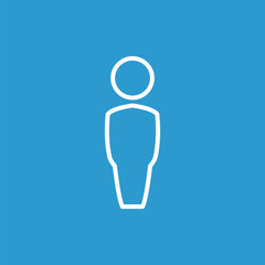 male outline icon, isolated, white on the blue background.