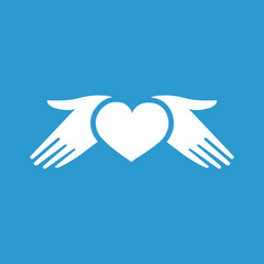 heart hands icon, isolated, white on the blue background.