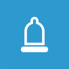 condom icon, isolated, white on the blue background.