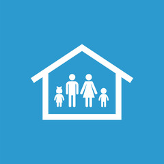 family home icon, isolated, white on the blue background.