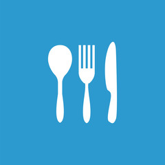 cutlery icon, isolated, white on the blue background.