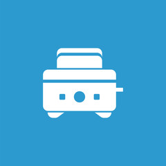 toaster icon, isolated, white on the blue background.